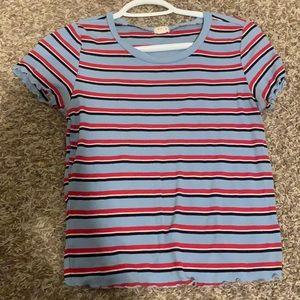 Garage Blue Red White Black Striped t-shirt top